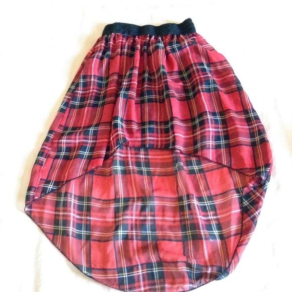 e787c674967d6e Dresses & Skirts - Red & Black Plaid High-Low Skirt