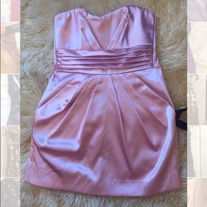 Pink satin short dress