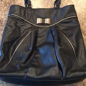 Elle Black Bow Tote Bag with Gold Trim MOVING SALE