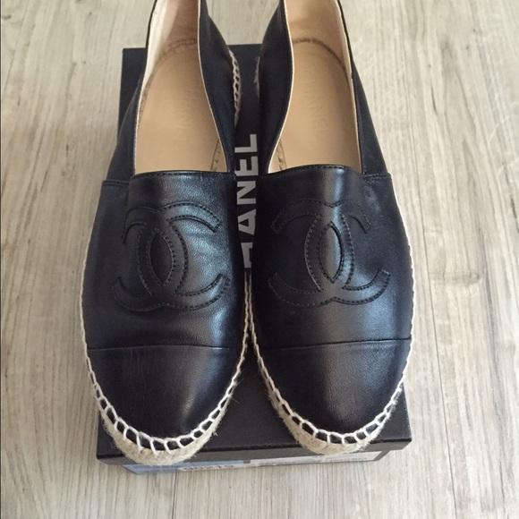 New Black Leather Chanel Espadrilles