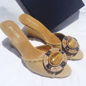 Prada Wedge Sandals Size 37 New!