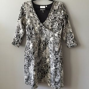 Black and White Anthropologie Faux Wrap Dress Sz M
