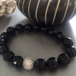 Jewelry - micro Pave CZ & Black Onyx  stone beaded bracelet