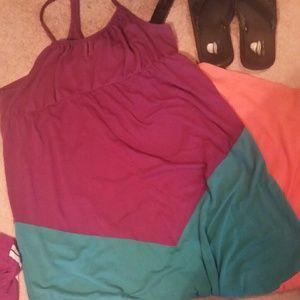 Multi color maxi dress.