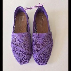 TOMS Shoes - Purple Crochet Toms NWOT🎉3X Host Pick🎉