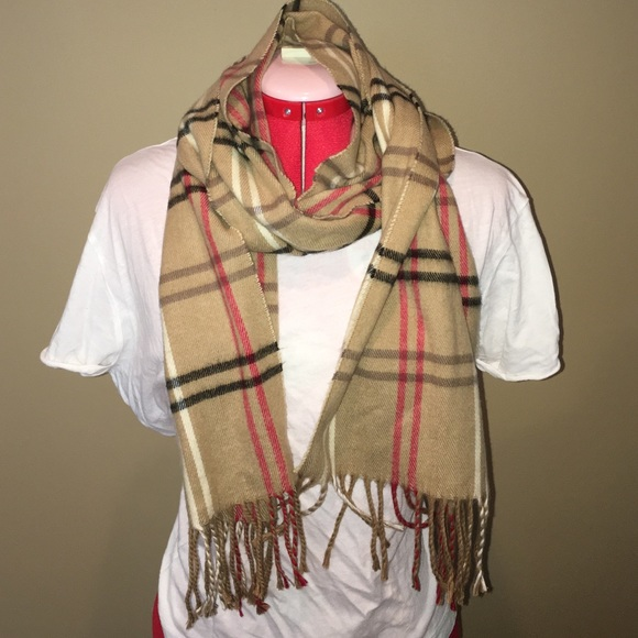 Plaid flannel scarves Fall Accessories Tan Red And Black Plaid Flannel Scarf With Fringe Poshmark Accessories Tan Red And Black Plaid Flannel Scarf With Fringe