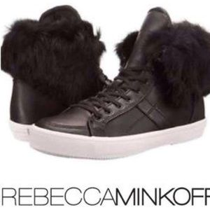 NEW 'Sasha' Leather Sneaker with Rabbit Fur Trim