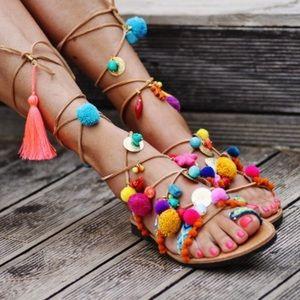 Elina Linardaki Handmade Pom Pom Gladiator Sandals