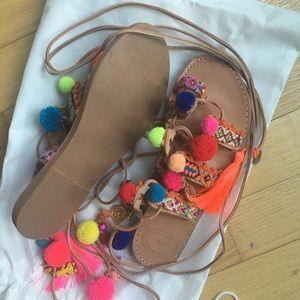 Elina Linardaki Shoes - Elina Linardaki Handmade Pom Pom Gladiator Sandals