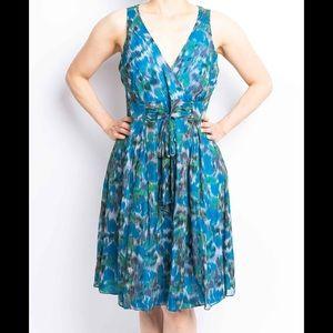 CYNTHIA STEFFE Teal Silk Chiffon Tea Dress Sz 6/M