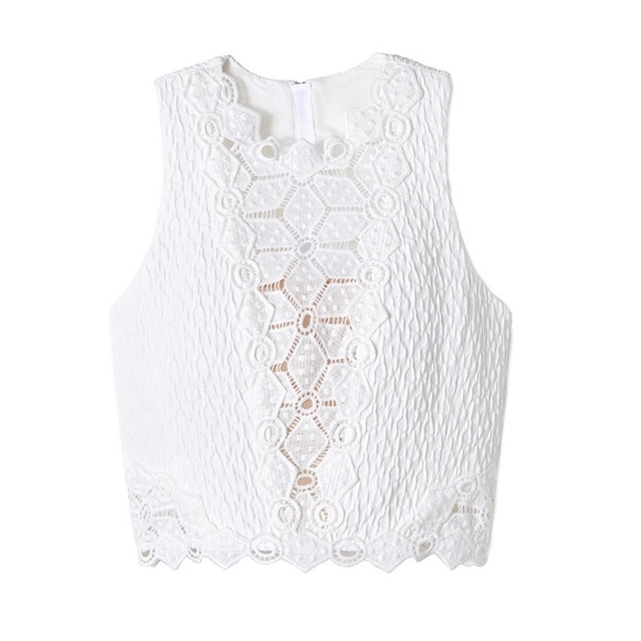 a0c02be6f90 Tops | Rebecca Taylor Dia White Lace Crop Top | Poshmark