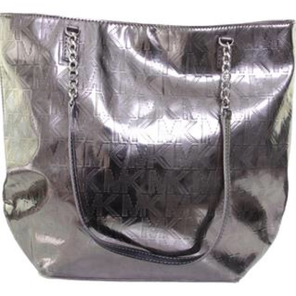 Michael Kors silver tote. WITH DUST BAG! Metallic.