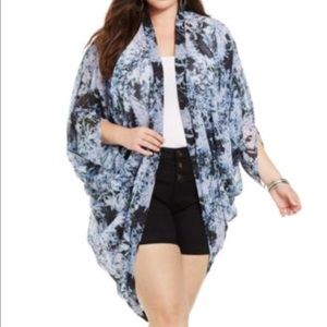 City Chic Tops - Floral Print Kimono