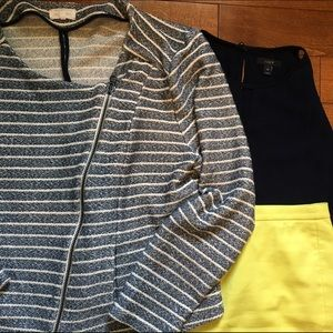 LOFT Jackets & Blazers - Blue and white stripe moto style boucle jacket