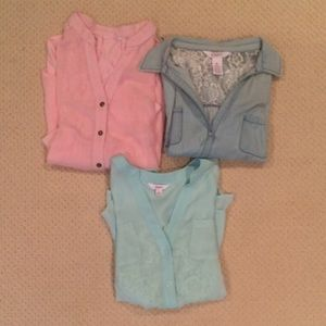 BUNDLE Long Sleeve Mint, Blue, and Pink Tops