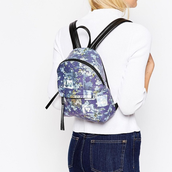 Blue Floral Mini Backpack