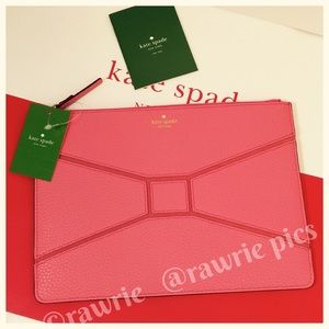 SALE New Kate Spade leather large bow tie pouch