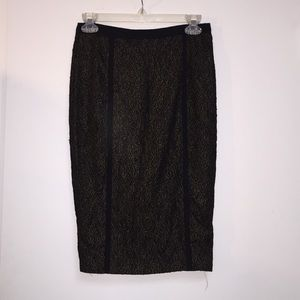 Black and gold lace pencil skirt