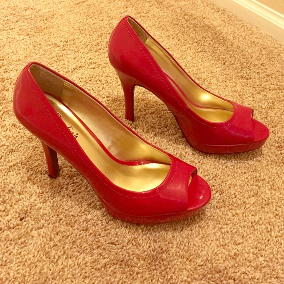 66% off Candie's Shoes - Candies Red Peep-Toe Heels 👠👠 from ...