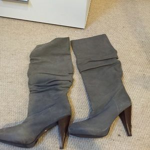 Zara grey leather boots