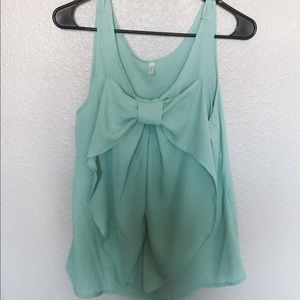 Modcloth mint green bow tank top