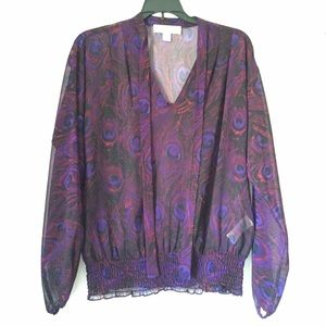 Sheer Purple Peacock Feather Printed Blouse