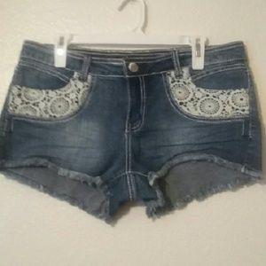 No Boundaries Pants - No Boundaries Lace Jean Shorts - 15
