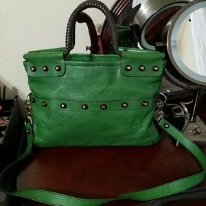 LANVIN Green Leather Tote