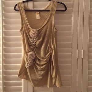 Gold threaded Anthropologie mixed media top