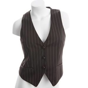 Alice + Olivia brown pinstripe vest small