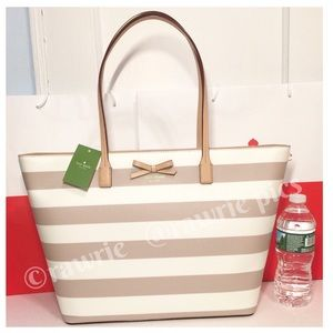 New Kate Spade large striped tote cream beige