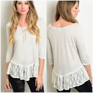 Ivory gray striped lace hem top