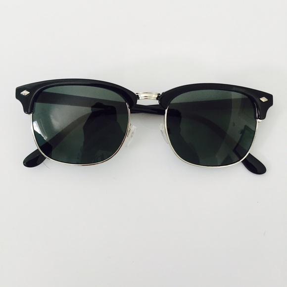 ray ban clubmaster sunglasses black and silver  ray ban accessories dark tint clubmaster style glasses w/silver trim
