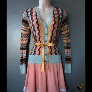 Missoni Sweaters - Divine Block Chevron Cardigan W/ Belt - Missoni