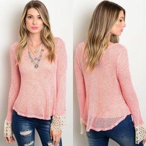 Pink & Cream Long Sleeve Crochet Lace Trim Top