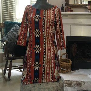3/4 Sleeve Aztec Summer Dress