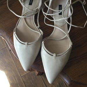 Cream ankle tie flats bought in Europe Worn once