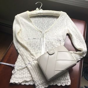 Ivory leather box clutch excellent condition
