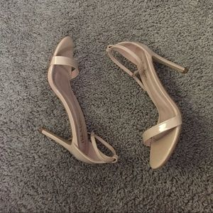 Open Toe Single Strap Nude Heels