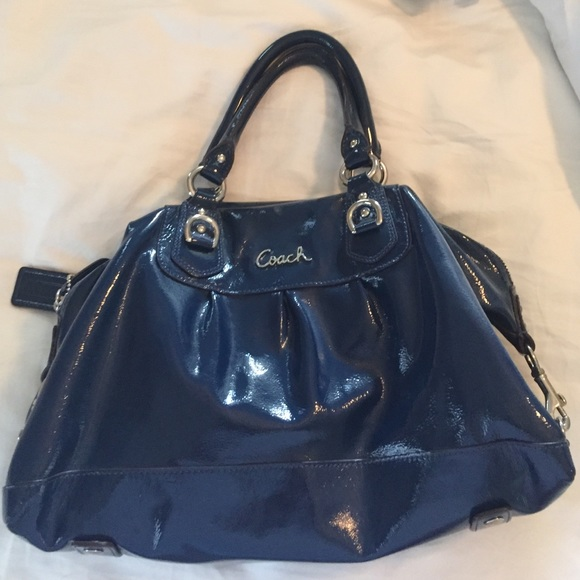 86% off Coach Handbags - Coach Blue Patent Leather purse from ...
