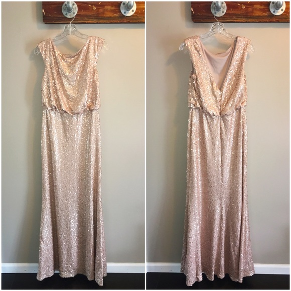f9f31003 David's Bridal Dresses | Long Sequin Blouson Dress | Poshmark