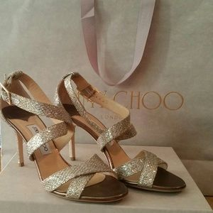 JIMMY CHOO SHOES: LOUISE CHAMPAGNE GLITTER FABRIC