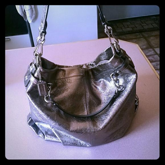 3313609c135 Coach Bags   Brooke Metallic Leather Handbag   Poshmark