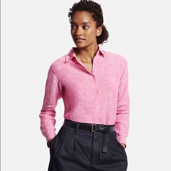33 off uniqlo tops premium linen button front shirt for Uniqlo premium t shirt