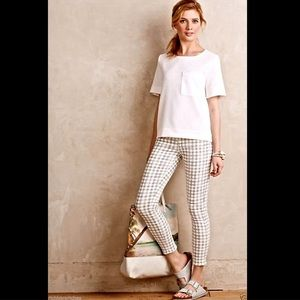 Anthropologie ivory gray checked cropped Jeans 32