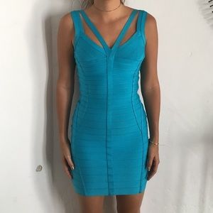 Herve Leger blue bondage dress