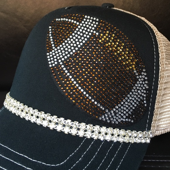 071189486dd81 Black Football Bling Trucker Hat From Tracy s Closet On