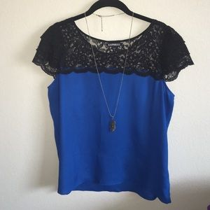 Express flowy blouse with sheer lace cap sleeves