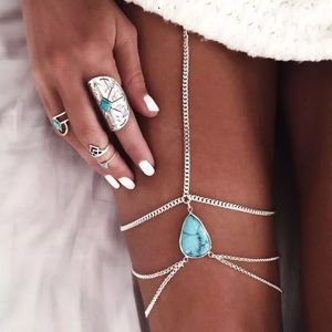 LF Jewelry - ⚡️ONE LEFT⚡️Silver & Blue Stone Boho Thigh Chain