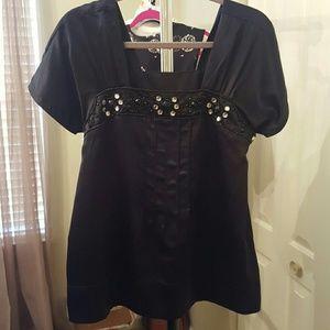 Tops - Black satiny top